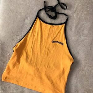 NWOT Yellow and Black Halter top